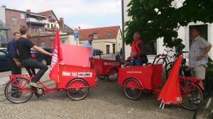Dreimal so viele Wahlkampffahrräder auf diesem Bild, wie im gesamten Leipziger Stadtverband